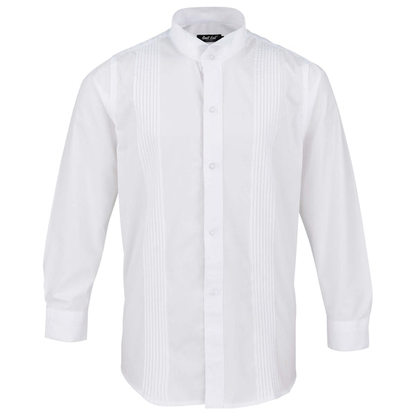 Boys White Wing Tip Formal Shirt with Pleat Detail