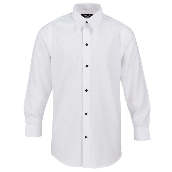 Boys Textured White Formal Shirt with Black Buttons