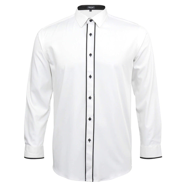Mens Dress Shirt White with Black Piping