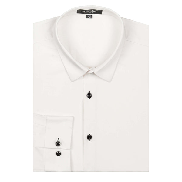 Mens Dress Shirt White with Black Buttons