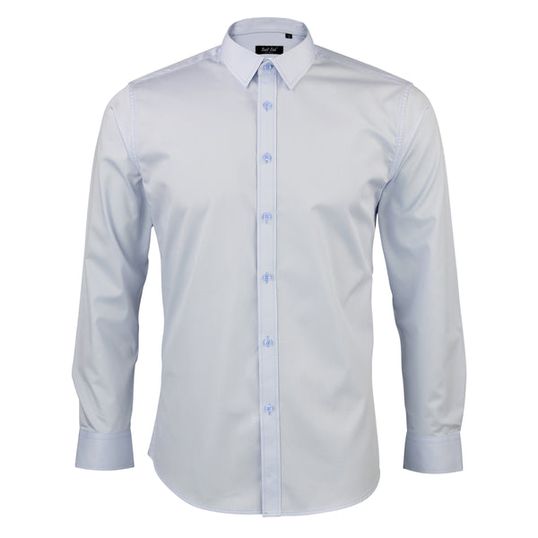 Mens Blue-tinted Twill Tux Shirt