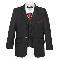 Boys Black Trim Suit