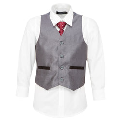 Boys Accented Grey Vest