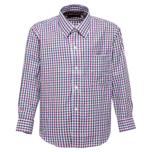 Boys Red and Navy Checkered Formal Shirt