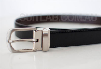 Baby / Boys / Men Leather Belt - Black Clasp Buckle
