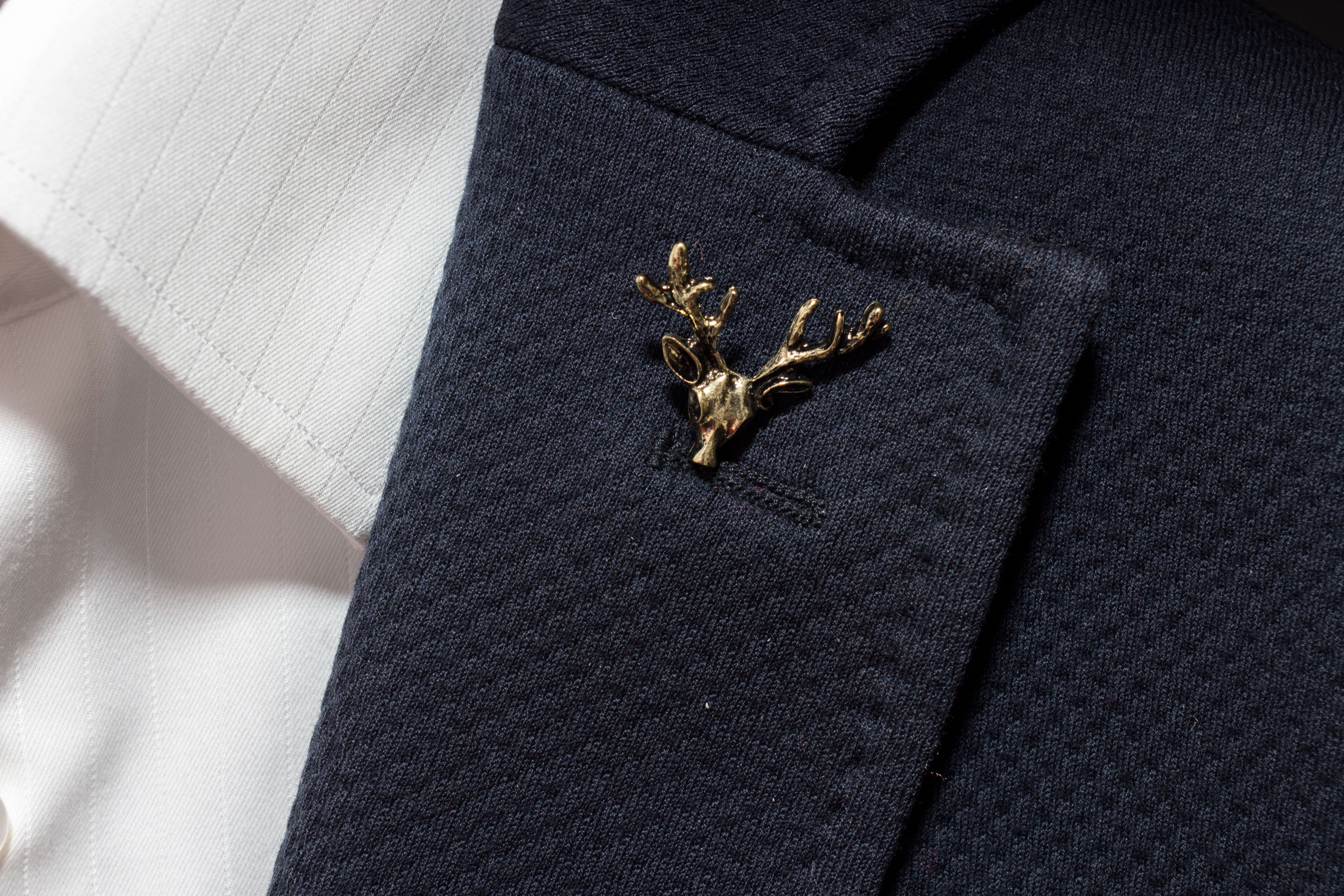 Bronze Deer Head Lapel Pin