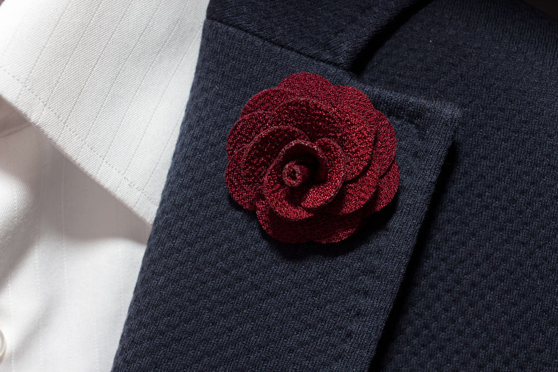 Burgundy Flower Lapel
