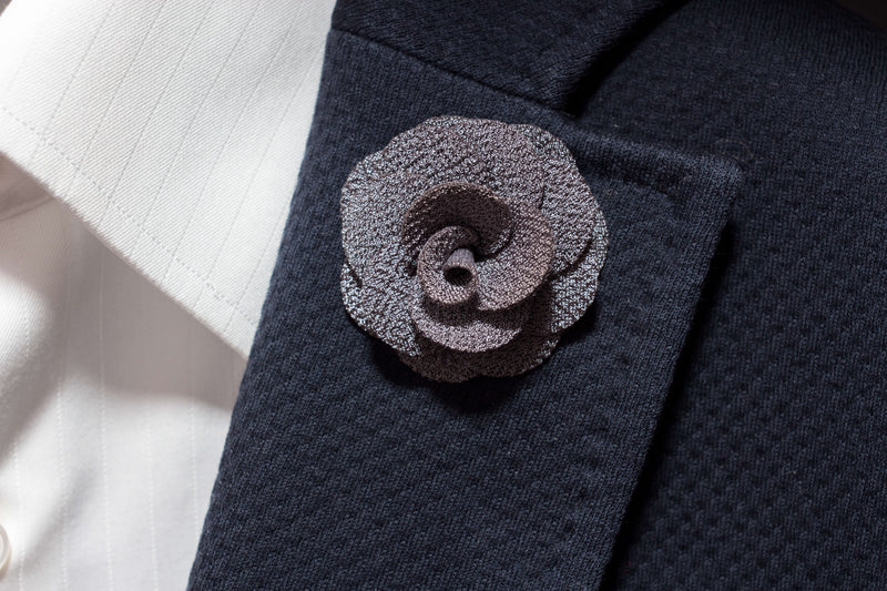 Grey Flower Lapel