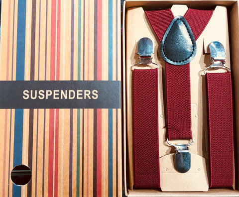 Boys Suspenders/Bracers - Burgundy