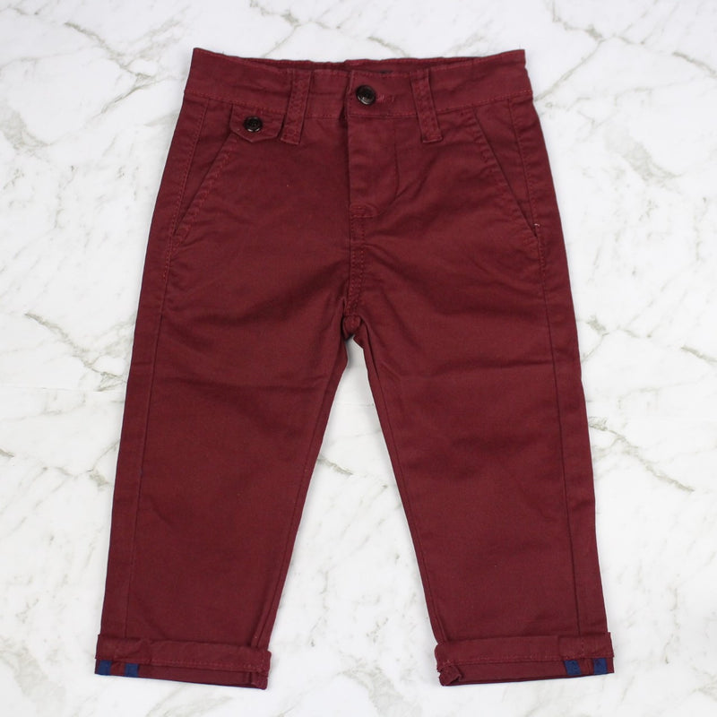 Boys Chino Pants - Burgundy Red