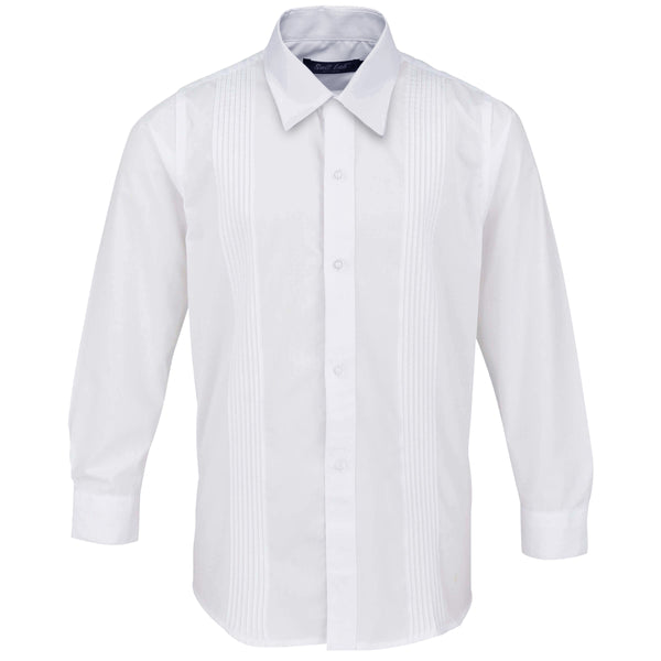 Boys White Formal Shirt with Pleat Detail