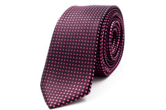 Black with Pink Polka Dots Skinny Tie