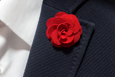 Red Flower Lapel