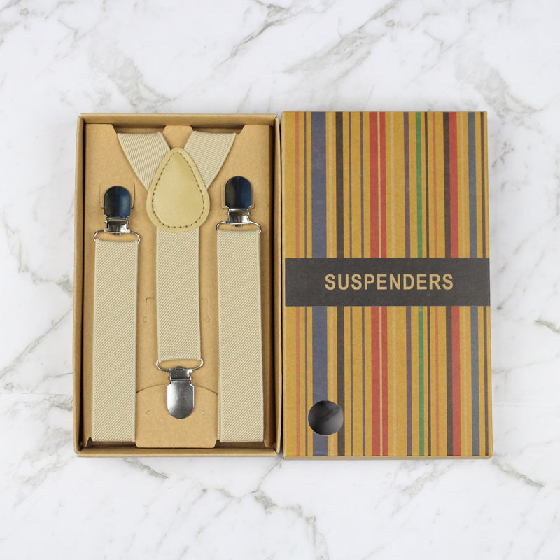 Boys Suspenders/Bracers - Beige