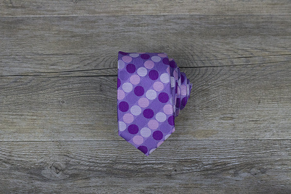 Purple with Multi-colour Polka Dots Skinny Tie