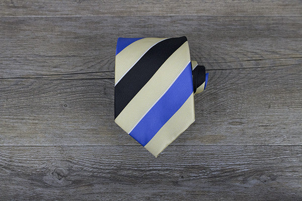 Yellow/Black/Blue Stripe Tie