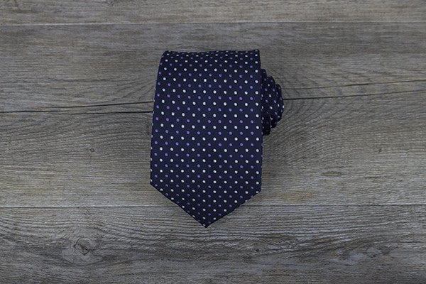 Navy with White/Purple Polka Dots Tie