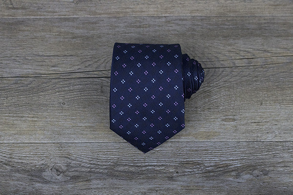 Navy with Pink/Light Blue Polka Dots Tie