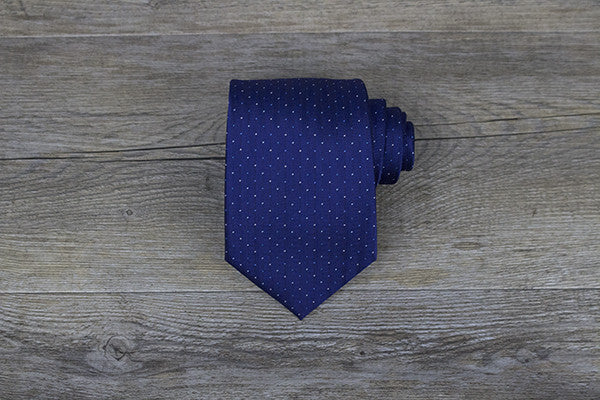 Navy with White/Blue Polka Dots Tie