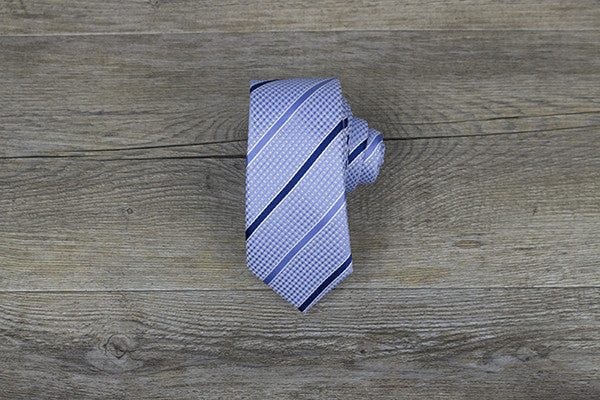 Light Blue with Navy Stripes Skinny Tie