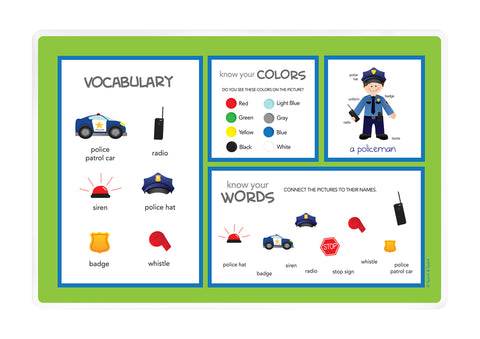 Police on Duty Personalized Kids Placemat