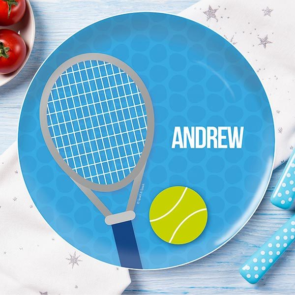 Tennis Fan Boy Personalized Kids Plates - Give Wink
