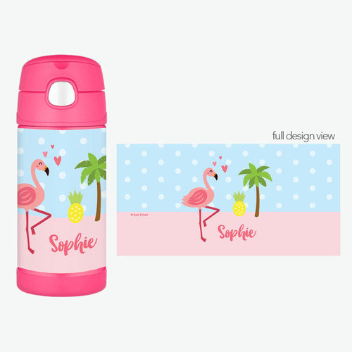 Sweet Flamingo Love Personalized Thermos Bottle - Give Wink