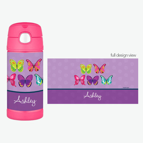 Bright Butterflies Personalized Thermos Bottle - Give Wink