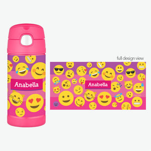 Pink Emoji Personalized Thermos Bottle - Give Wink