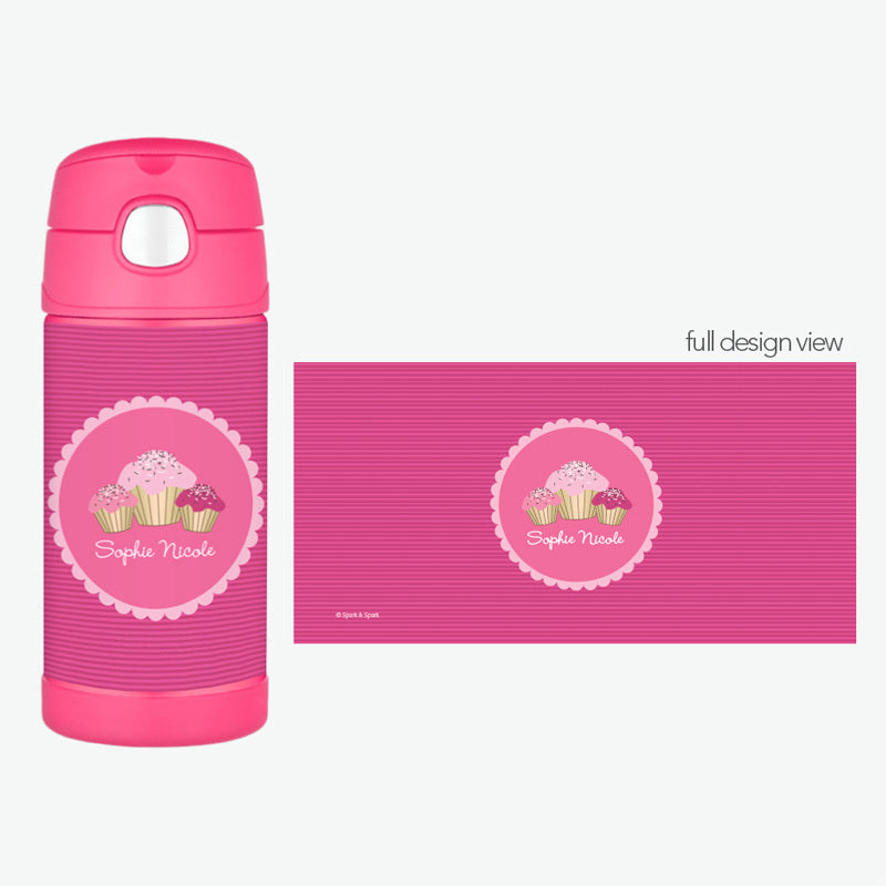 Sweet Cupcakes Personalized Thermos Bottle - Give Wink