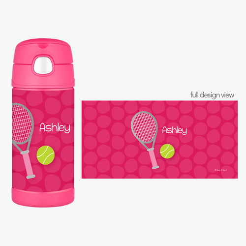Spark & Spark. Tennis Fan Girl Personalized Thermos Bottle