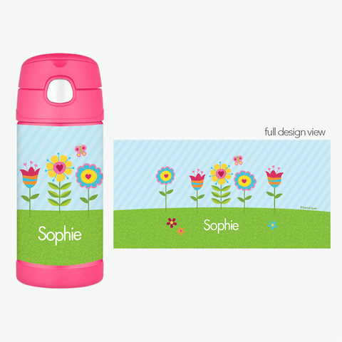 Spring Blooms Personalized Thermos Bottle