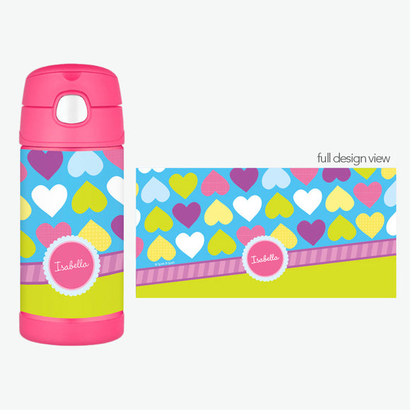 Happy Hearts Field Personalized Thermos Bottle - Give Wink