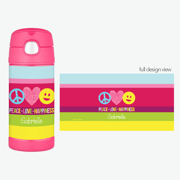 Peace & Love Signs Personalized Thermos Bottle - Give Wink