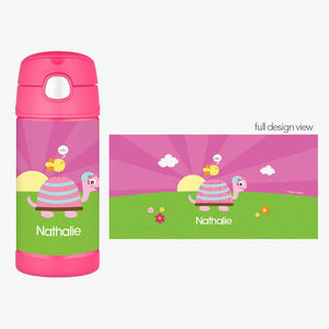 Turtle and Happy Bird Personalized Thermos Bottle - Give Wink