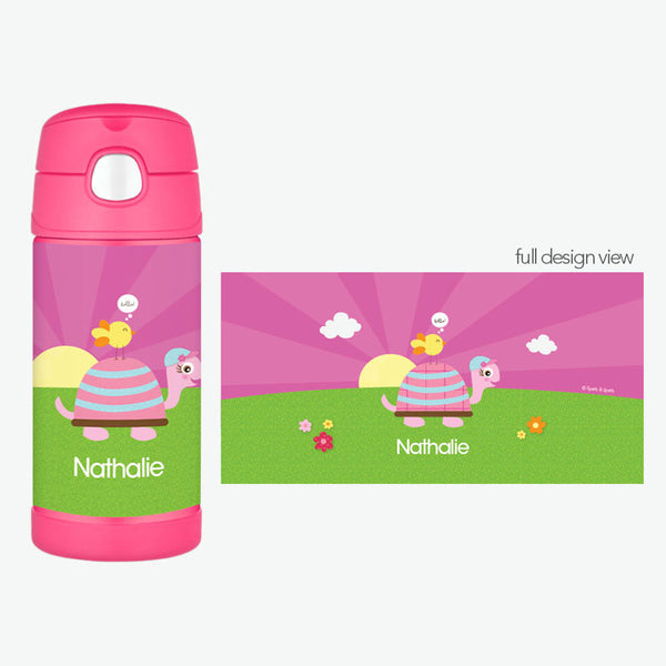 Spark & Spark. Turtle and Happy Bird Personalized Thermos Bottle