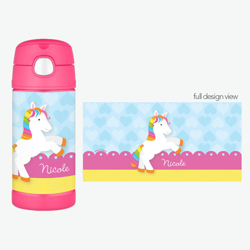 Cute Rainbow Pony Personalized Thermos Bottle - Give Wink