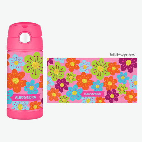 Shiny Bold Flowers Personalized Thermos Bottle - Give Wink