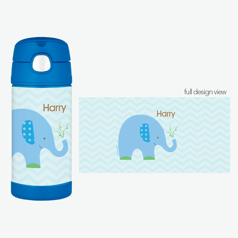 Blue Baby Elephant Personalized Thermos Bottle - Give Wink