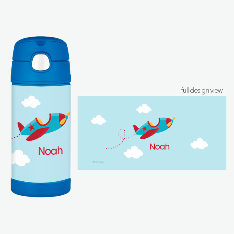 Fly Little Plane Personalized Thermos Bottle - Give Wink