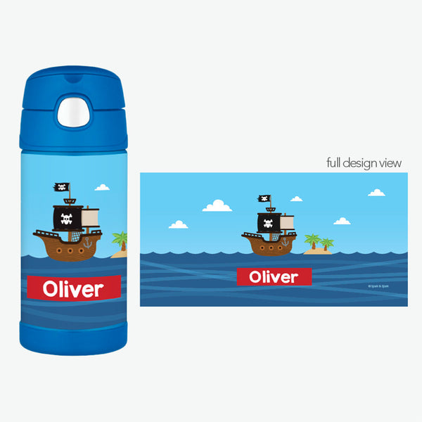 All Aboard Pirates Personalized Thermos Bottle - Give Wink