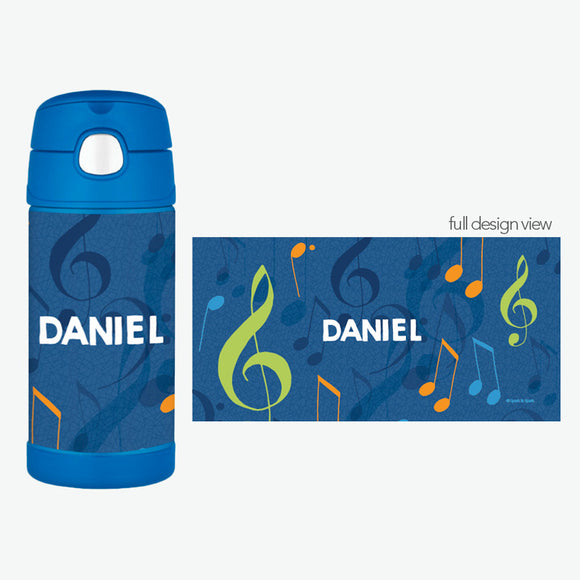 Musical Notes Personalized Thermos Bottle - Give Wink