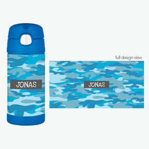 Blue Camo Personalized Thermos Bottle - Give Wink