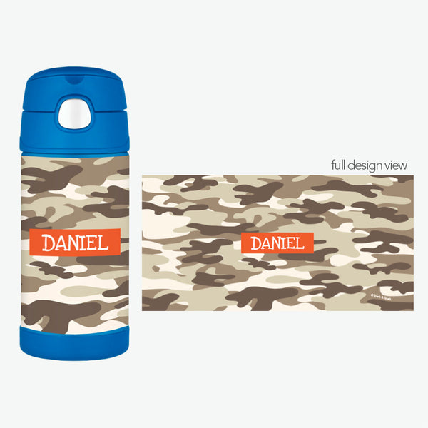 Brown Camo Personalized Thermos Bottle - Give Wink
