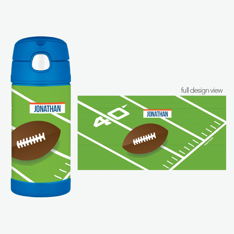 Football Fan Personalized Thermos Bottle - Give Wink