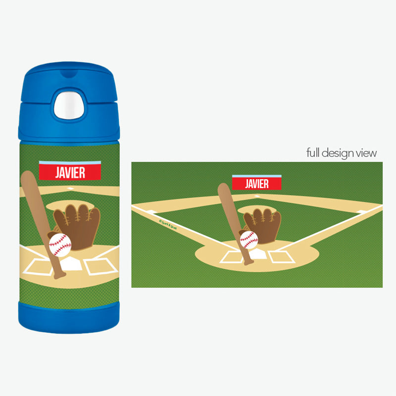Baseball Fan Personalized Thermos Bottle - Give Wink