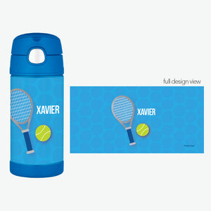 Tennis Fan Boy Personalized Thermos Bottle - Give Wink