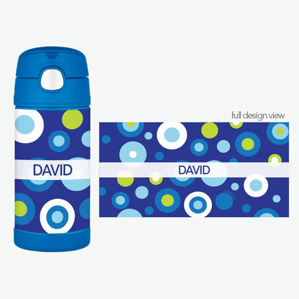Blue Circles and Circles Personalized Thermos Bottle - Give Wink