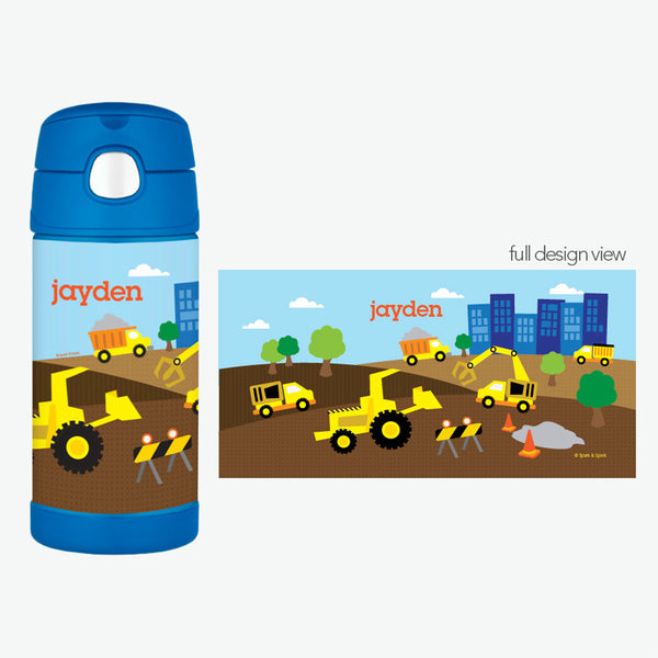 Construction Site Personalized Thermos Bottle - Give Wink