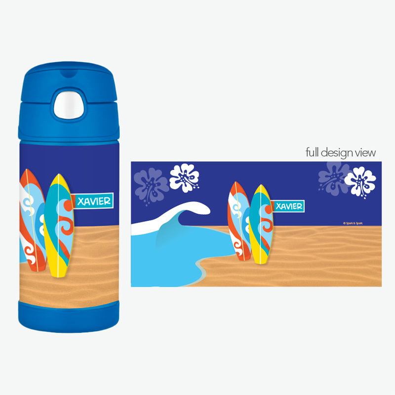 Boy Surfer Personalized Thermos Bottle - Give Wink